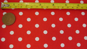 "Polka Dot Fabric 10mm 100% Cotton Fine Shabby Chic Spot Dress Craft 1m 112cm 44"""