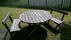 Outdoor Timber Table & Bench Seat Setting Yeerongpilly Brisbane South West Preview