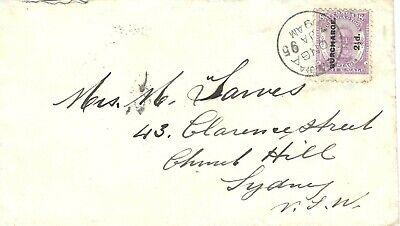 Tonga 1895 Nukualofa Env > Sydney NSW Bearing Provisional 2½d on 8d SG23 SCARCE