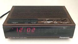 Vintage Panasonic AM/FM Alarm Clock Radio Red Model RC-6060 Wood Grain Look