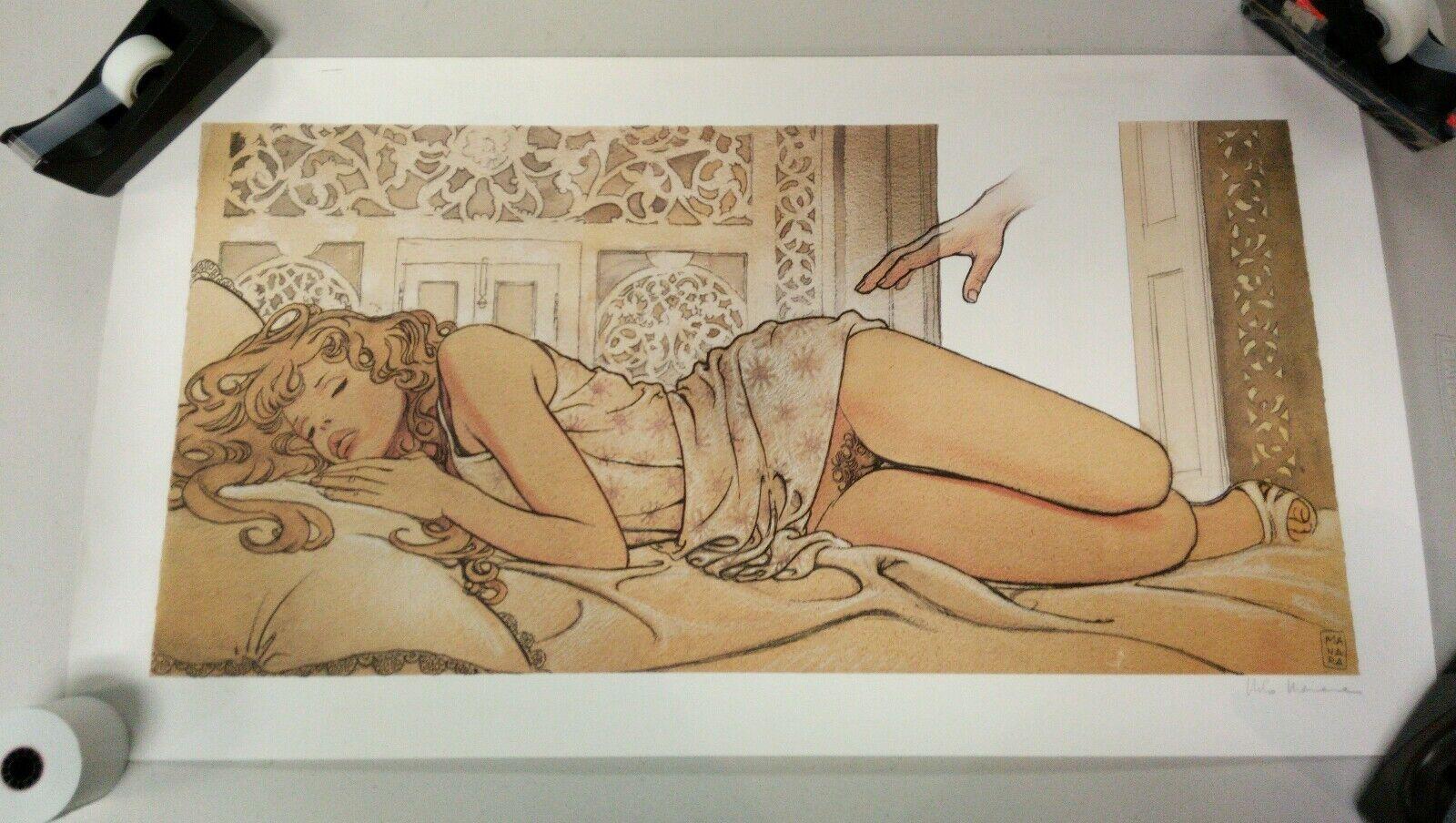 Milo Manara Adult Erotica Original Art Print Signed Autographed Limited Vintage