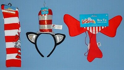 Dr. Seuss Cat in the Hat-Costume Accessories- Headband-Bow Tie-Striped Socks-LOT