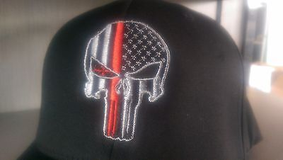 Punisher Thin Red Line Fire fighter support Flex Fit Ball Cap hat USA flag NWT