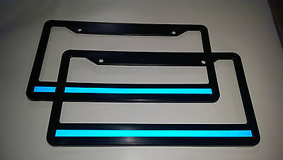 2 EACH Blue Line License Plate Frame thin REFLECTIVE SUPPORT THE POLICE safety