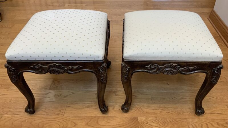 Pair Of Vintage French Provincial Foot Stools Bench Ottoman