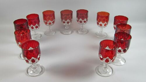 12pc Lot of US Glass RED BLOCK EAPG Water Goblets(s)Multiple Sets Available