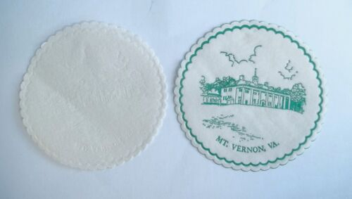 Vintage Mount Vernon VA Coasters ? 3-3/8 Diameter Green White Patch Lot of 10