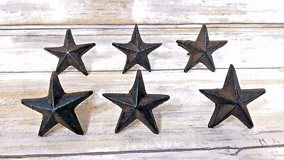 Western Decore (Set 6 Rustic Cast Iron Western Texas Star Nails Tacks - 2 5/8