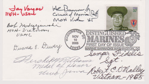 SIGNED MARINES MEDAL OF HONOR WINNERS (6 SIGS) FDC AUTOGRAPHED FIRST DAY COVER