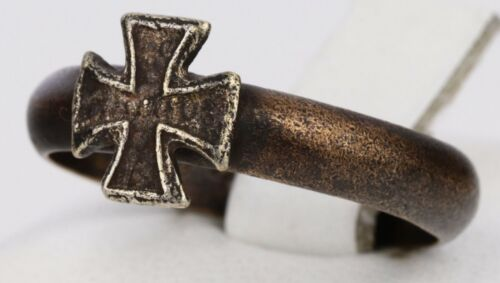 1941-1943 ww2 GERMAN Ring STERLING Silver IRON Cross WWII GERMANY Trench ART Bro