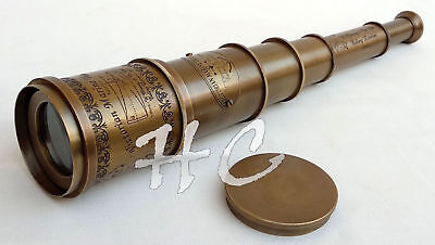 "Antique brass victorian marine london 9/"" leather telescope with wooden box gift"