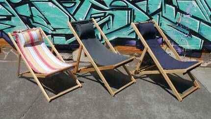 New Timber Sun Lounge Striped Deck Chairs Outdoor Furniture