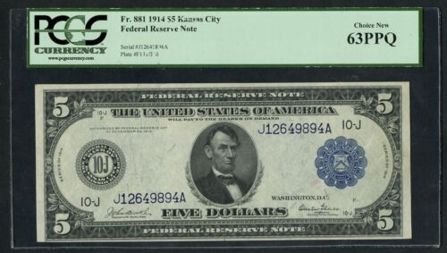 Fr881 $5 1914 Frn Kansas City Pcgs 63 Ppq Choice Unc (only 99 Recorded) Wlm5500
