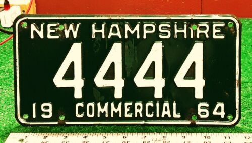 NEW HAMPSHIRE - 1964 truck license plate - GREAT number, all original condition