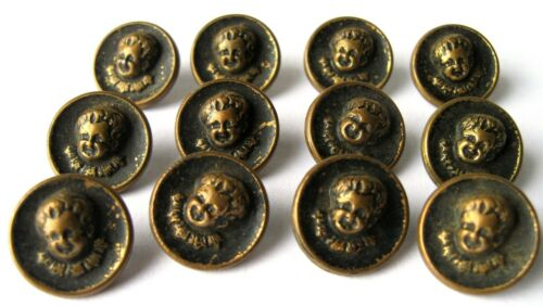 Set of 12 Small Antique Brass Baby Child