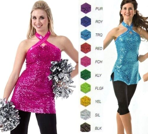 Varsity Tunic Dance Costume TOP ONLY Color Choice Foil Sequin Child & Adult New