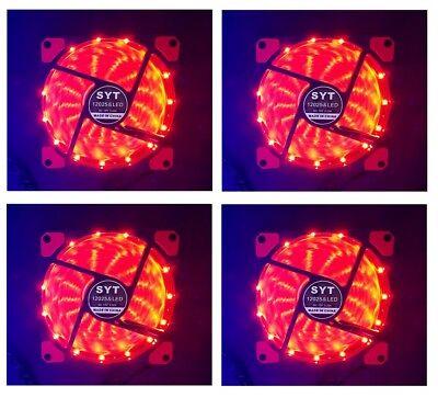 4x Leise Lüfter 120x25mm für PC Gehäuse Computer FAN Rot beleuchtet LED Stripe ()