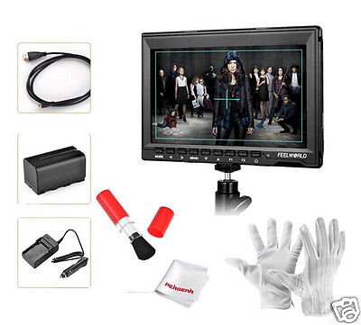 """Feelworld FW759 7"""" HD IPS 1280x800 Field HDMI Video Monitor+Battery Pack+Cables"""
