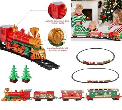 24'' Electric Christmas Train Set Track Musical Sound Light Train Track Toy XMAS