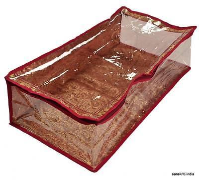 SARI-SAREE/LEHENGA COVER-BAGS-PACKAGING-STORAGE ONE SIDE CLOTH CLEAR PLASTIC ZIP