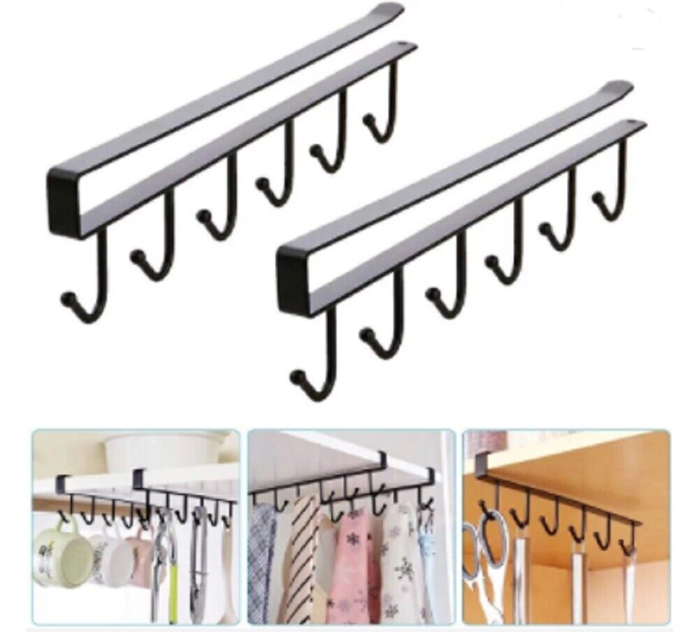 2 Pcs Under Shelf Coffee Cup Mug Holder Hanger Storage Rack Cabinet Hook Kitchen Home & Garden