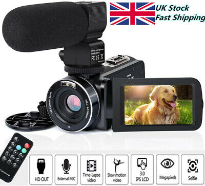 Video Camera Camcorder HD 1080P External Microphone Vlogging Camera for YouTube