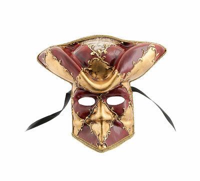 Mask Casanova from Venice Bauta Red Carnival Venetian Authentic VG13 861