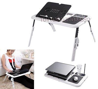 Tavolino porta pc supporto telescopico base pieghevole 2 ventola notebook