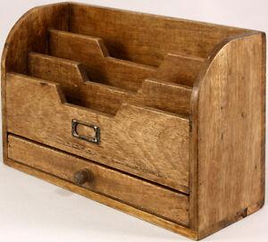 Solid Wood Vintage Style Letter Rack With Drawer Stationery Holder Storage Rack