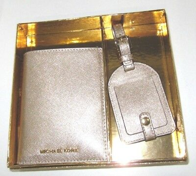 Michael Kors Holiday Boxed Gift Set Passport Case & Luggage Tag Gold Glitter  - Holiday Gift Tag Set