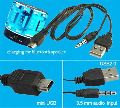 USB2.0 Charging Cord to Mini USB Male 3.5mm Jack Plug Audio Bluetooth Cable JH