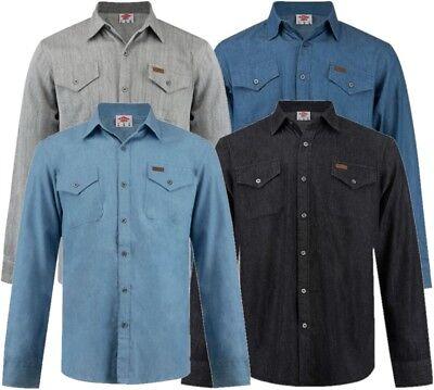 Herren Denim Bestickt (✅ LEE COOPER Herren Hemd langarm Jeans Denim Gr.S-XXL Freizeit Sommer Long Shirt)