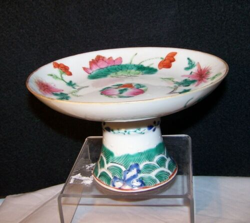 QING Antique Chinese Famille Porcelain STEM CUP Bowl Plate Dish Flowers Waves