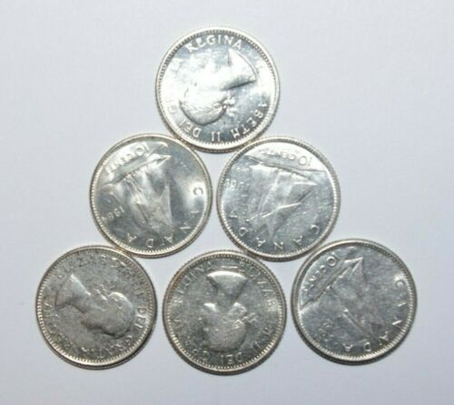 10 Cents Canada  Silver a Lot of 6 UNC / or High Grade Value Coins