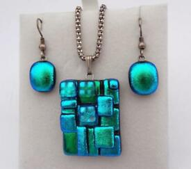 Sterling Silver 925 Glass Italian Blue Turquoise Earring Necklace - Italian