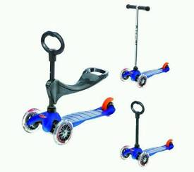 NEW!! RRP 90£ Ex display Micro Mini Micro 3-in-1 Scooter with Seat and O-Bar Handle, Blue