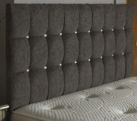 Charcoal Grey Chenille Kingsize Headboard, Diamante Buttons. Brand new unpacked