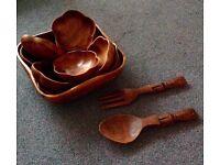Mid Century/Vintage 11 Piece Hellerware Wooden Salad Bowl Set, Teak Salad Bowls, Wood Bowls,