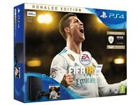 Brand New Sony PS4 Playstation 4 Jet Black 500GB Ronaldo Edition With FIFA 18 unwanted gift