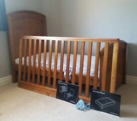 Mama and Papas Summerhouse cot bed with changing top and mattress.