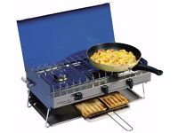 Campingaz Camping Chef Cooker with Two Gas Rings, Grill and Gas Canister