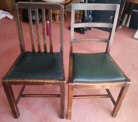 2 dining chairs. Solid wood. Green seats.