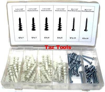 60Pcs Plastic Drywall Anchor Assorment Self Drilling Anchors With Screw kit set