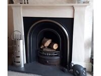 Portuguese Limestone Fire Surround with Reproduction Cast Fire Back