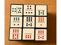 LARGE DOMINO PUZZLE CUBE. 2 FUN CHALLENGES. NO PACKAGING. VERY GOOD CONDITION.