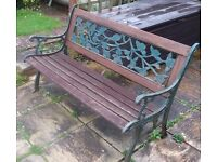 Garden Bench with cast metal ends