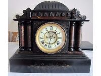 Victorian Antique Clock Chiming Slate Mantle Clock