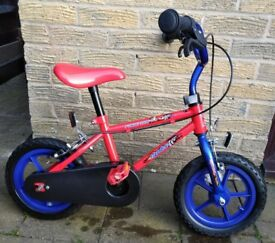 Spike Race Car Kids Bike, 12 inch wheels, stabilisers, red/blue