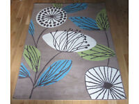 Rug - Dandelion in taupe - cream blue and green 1180 x 1600