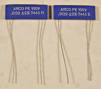 3 Arco Pe .0139uf 100v Polyester Film Capacitors - 2 Nos